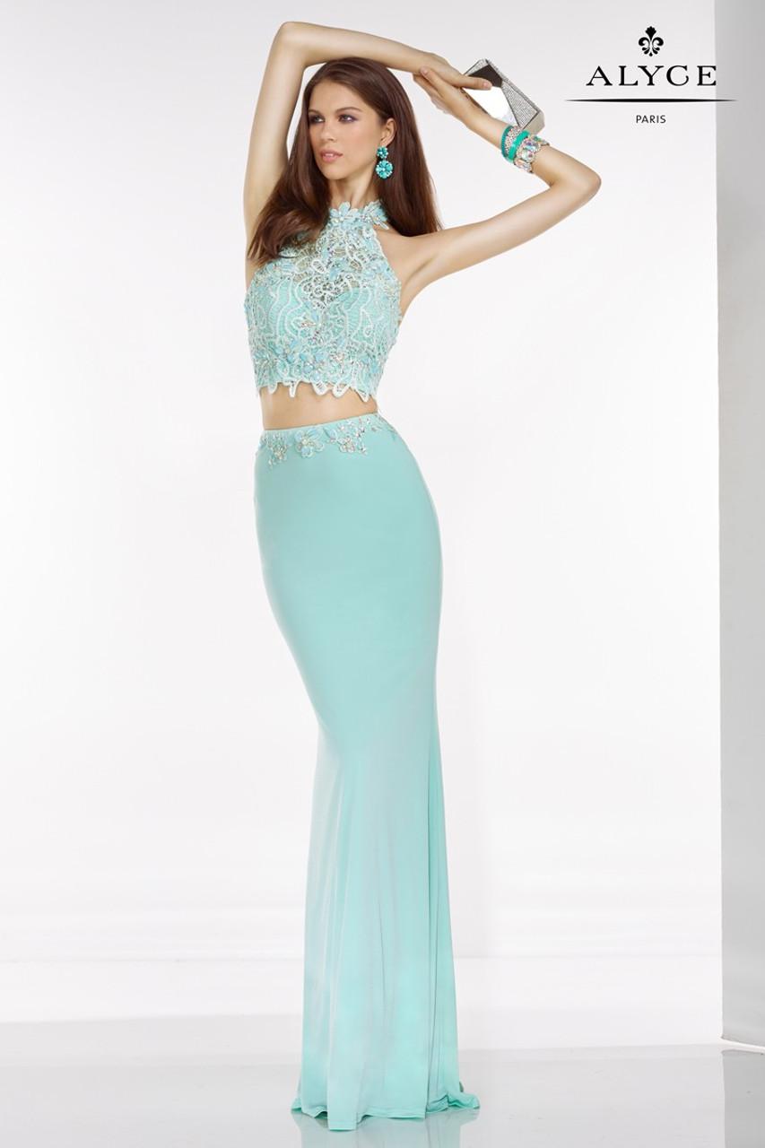 Ayce Paris 6520 2Piece Halter Top Dress - Prom-Avenue
