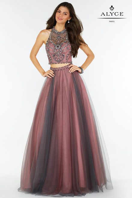 Two Piece Halter Top Prom Gown by Alyce 6766