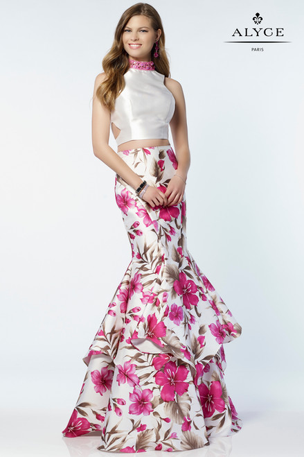 Magenta Floral Print Two Piece Gown by Alyce 6799