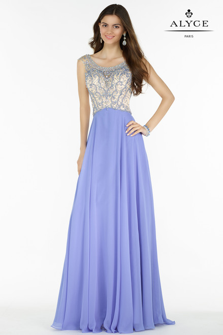 Scoop Neckline Beaded Long Evening Gown by Alyce