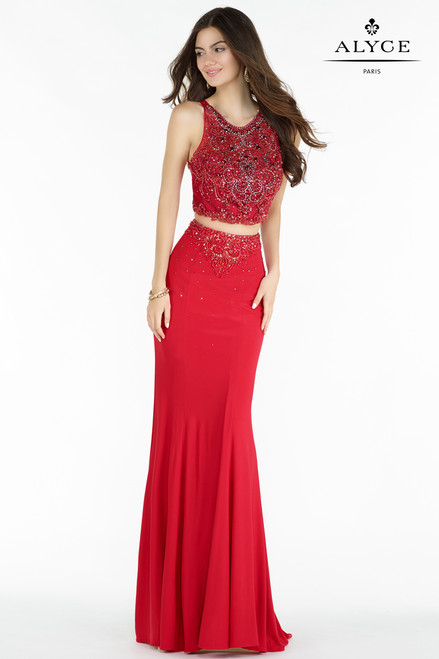 A two piece one of a kind prom dress with fully beaded bodice and a sexy back by Alyce 6709 - shop prom-avenue