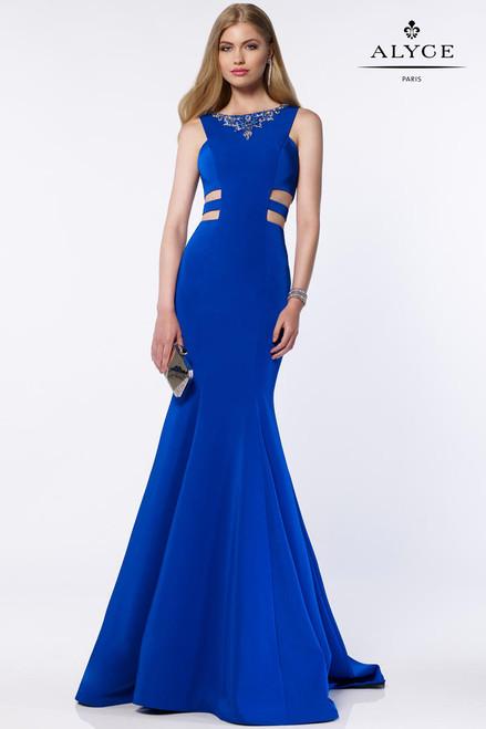 Blue Halter Top Prom Dresses