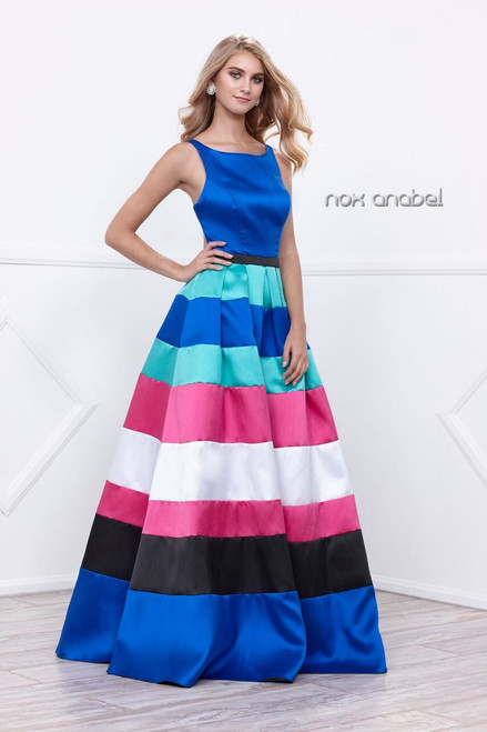 Bold Bright Royal Blue Stripe Ball Gown