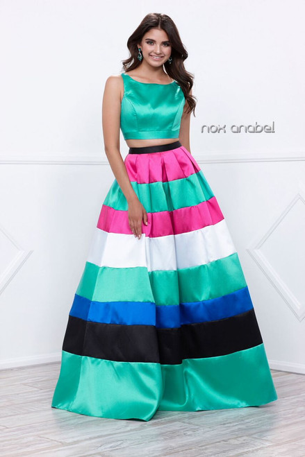 Two Piece Stripe Prom Gown