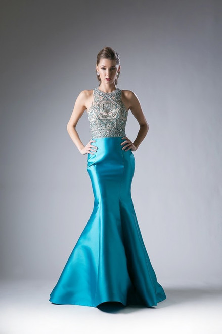 Beaded Teal Prom Dress