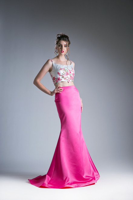 Hot Pink Two Piece Prom Dress