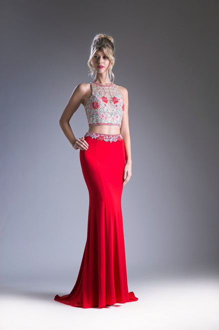 Beaded Two Piece  Prom Dress