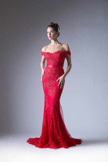 Off Shoulder Red Lace Evening Gown
