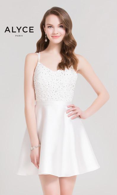 Alyce 3719 White Lace Mikado Dress