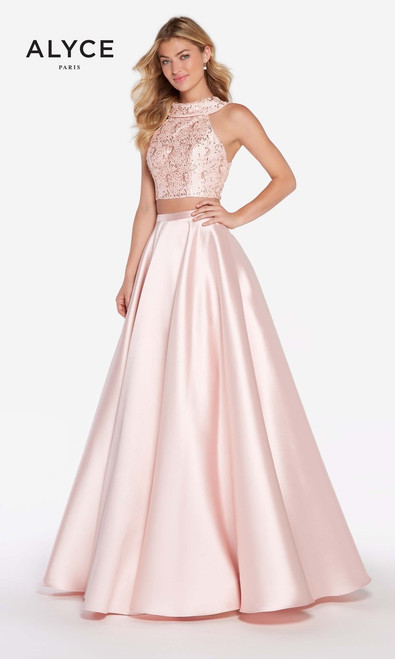 Alyce Paris 60063, formals, military gown , pageant, red carpet, sweet 16, halter neckline, two piece, rosewater, ball gown, couture, runway, mikado, lace, black, pink ,white, red, open back, sleeveless
