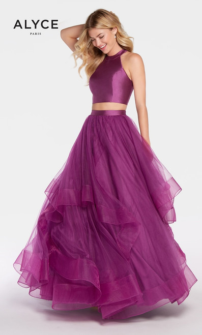 Two piece ball gown layered skirt in Alyce 60210 with crop top on sexy keyhole open back that is perfect for prom or sweet 16- shop arm-avenue  Alyce Paris 60210 Available in Purple-Aubergine,Navy, Rosewater