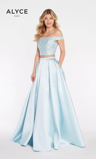 Alyce 1276, Alyce Paris 1276, 1276,Worthy for a grand and romantic entrance in Alyce Paris 1276, featuring a two piece ball gown with an off the shoulder bodice and an open back - shop prom-avenue   Available in French Blue, Red, Navy and Silver