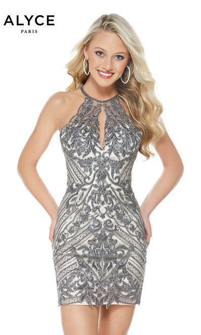 Glittering beaded dress by Alyce Paris 1323 featuring a sleeveless high neckline, open sexy back  and a fitted bodice - shop prom-avenue   Available in in Grey