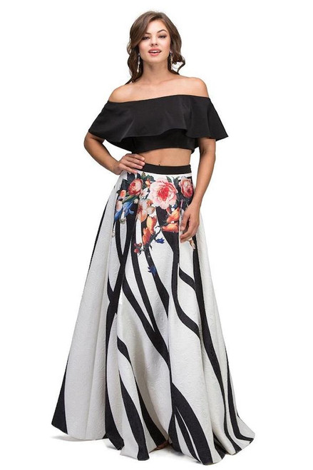 Two Piece Jaguard Floral Dress with Off the Shoulder Top