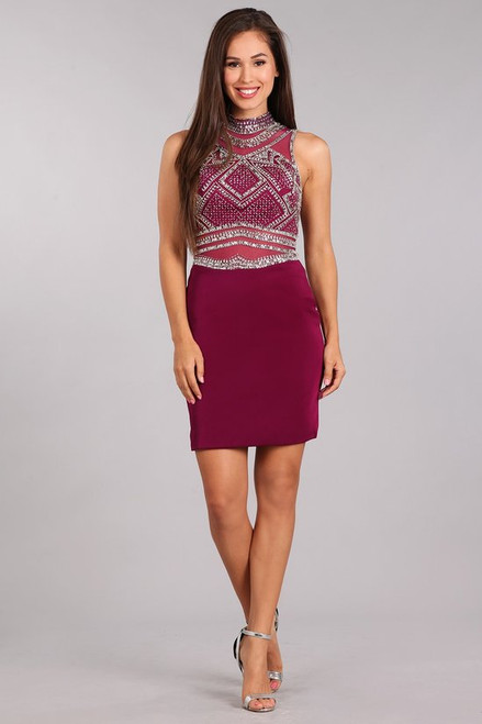 MF 1275,A fully beaded bodice short special occasion dress with open back in style MF 1275 , ready to shine - shop prom-avenue  Available in Navy and Burgundy