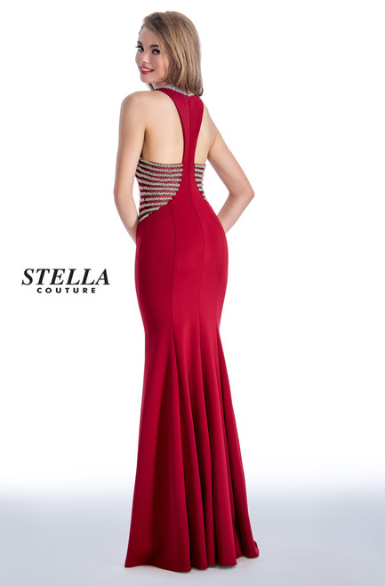 SC 18117,Wrap yourself for the prom day or on your special day with this long mermaid silhouette dress with racer back and embellished sides a style from Stella Couture 18117 that will hug your curves - shop prom-avenue   Available in Black, Hunter and Burgundy