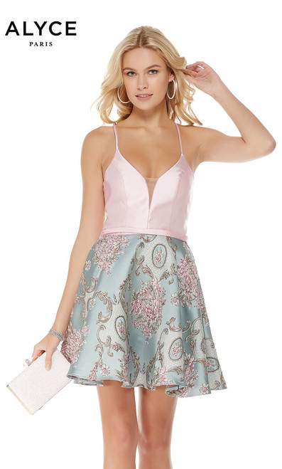 Beautiful and unique dress by Alyce Paris 3777 that features an antique jaqguard print skirt and a super sexy back with an ultra feminine design - shop prom-avenue   Available n Antique Blue Pink, Antique Blue/Ivory