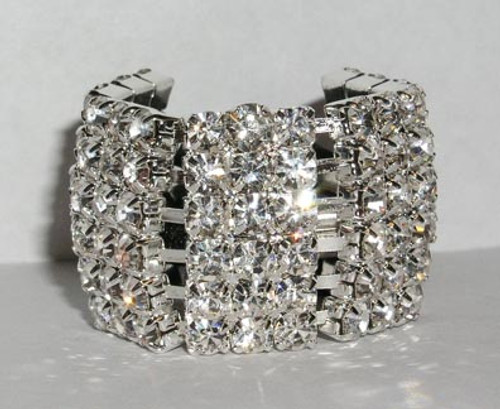 """PLATED IN STERLING SILVER  IT IS  13/16 """" WIDE and 1 1/8"""" HIGH.  RHINESTONE ELASTIC PONY TAIL HOLDER"""