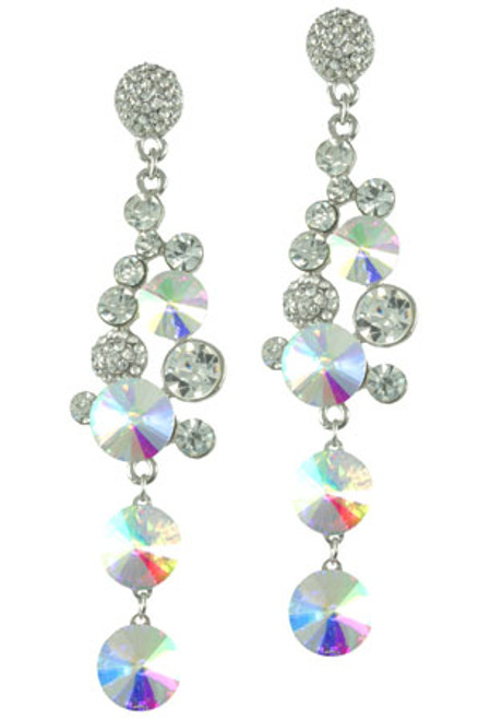 Silver Cluster Drop Posted Earring