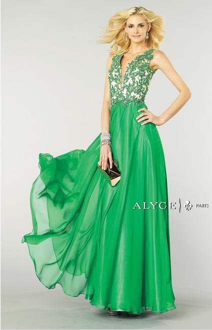 Beaded Applique Bodice Dress by Alyce Paris 6418