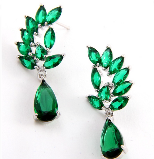 Cubic Zirconia Crystal Drop Post Earrings