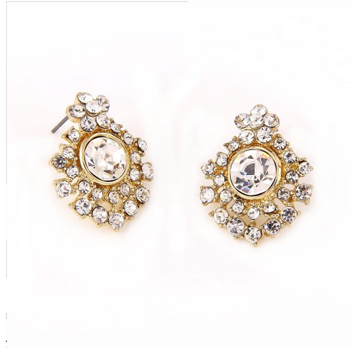 Cluster Rhinestone Post Earrings