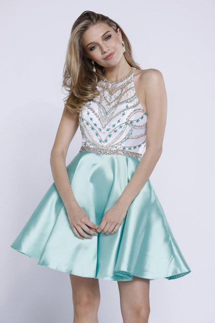 Stand out amongst the crowd with this dress from featuring a halter style neckline with beaded bodice and an a-line skirt - shop prom-avenue  Available in Mint- White,  Red-White