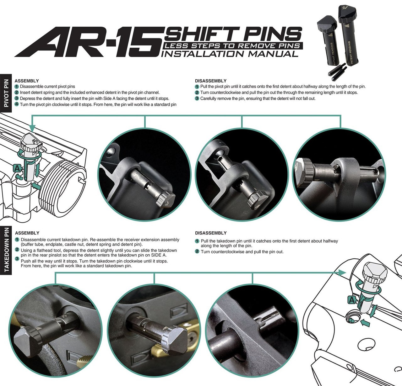 Strike Industries AR15 SHIFT Take Down Pins - AR10