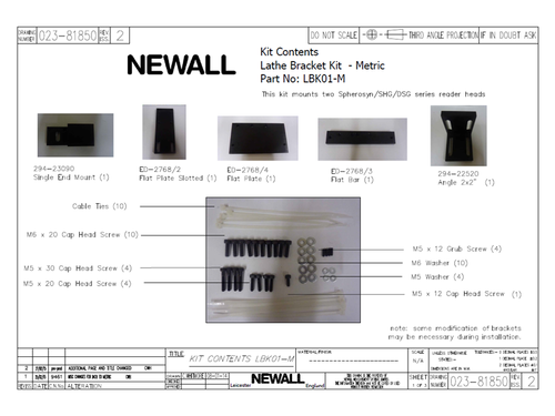 Newall Lathe Bracket Kit for (2) Spherosyn Reader Heads