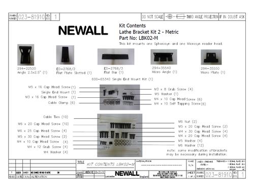 Newall Lathe Bracket Kit for Spherosyn + Microsyn Reader Heads