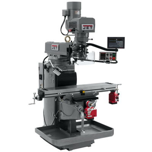 JET JTM-1050EVS2/230 Mill With 3-Axis Newall DP700 DRO (Knee) With X and Y-Axis Powerfeeds #690641