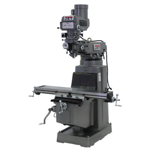 JET JTM-1050 Mill With 3-Axis Newall DP700 DRO (Quill) With X and Y-Axis Powerfeeds #691209
