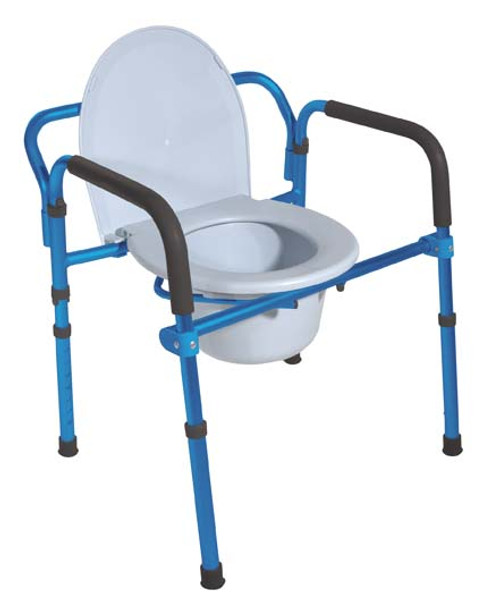Drive Medical Folding Aluminum Commode with Padded Armrests