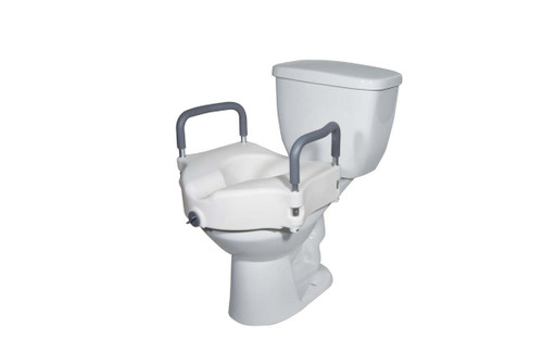 Drive Medical 2 in 1 Locking Elevated Toilet Seat with Tool Free Removable Arms