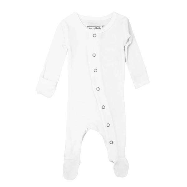 Organic Footed Overall in White, Flat