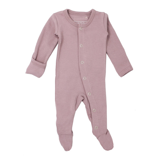 Organic Footed Overall in Lavender, Flat