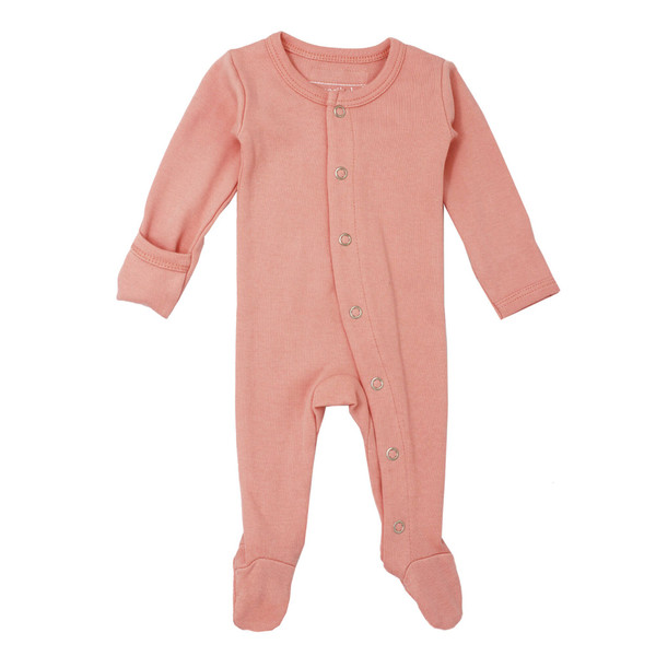 Organic Footed Overall in Coral, Flat