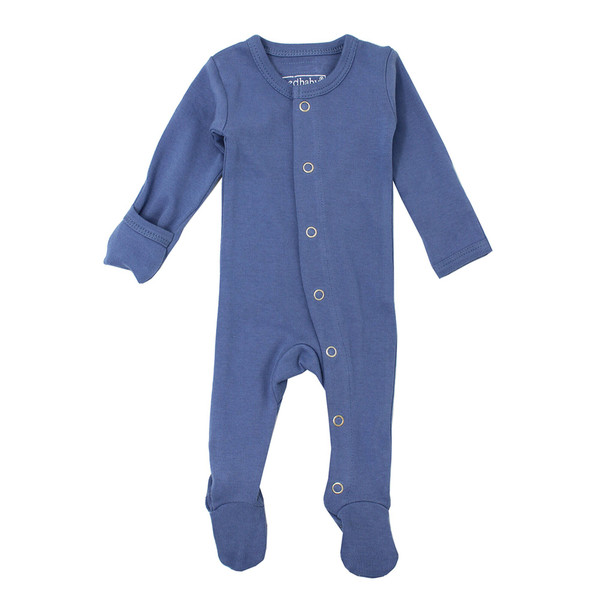 Organic Footed Overall in Slate, Flat