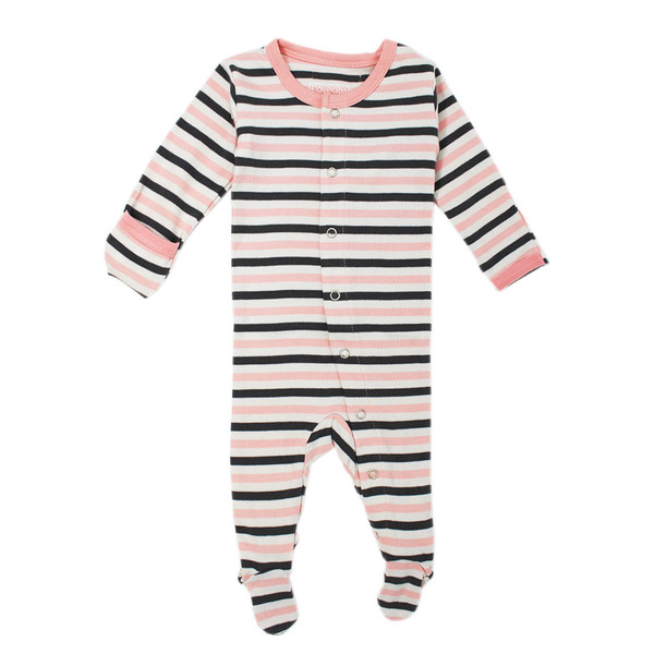 Organic Footed Overall in Coral Stripe, Flat