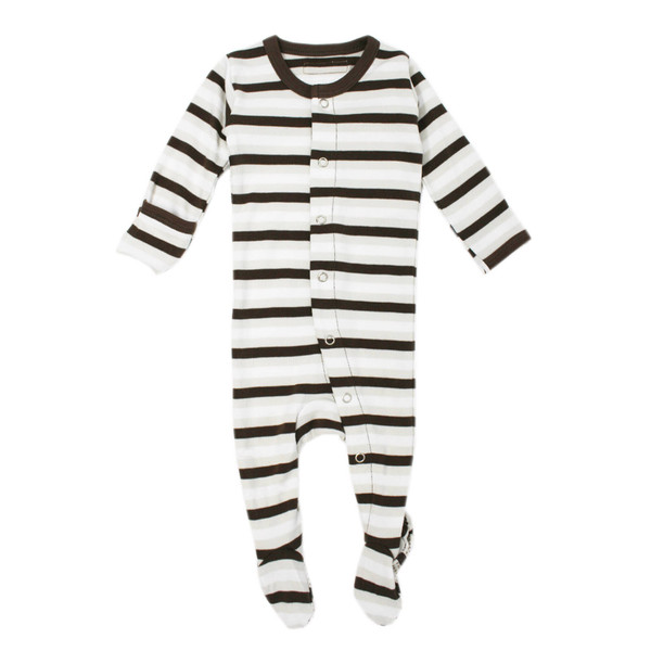 Organic Footed Overall in Bark Stripe, Flat