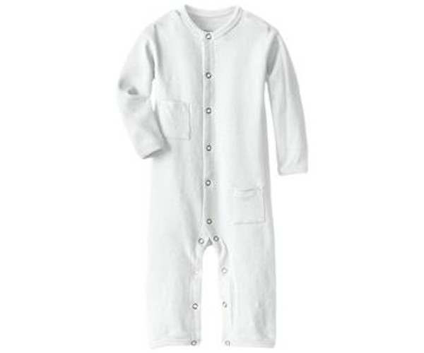 Organic Long-Sleeve Overall in White, Flat