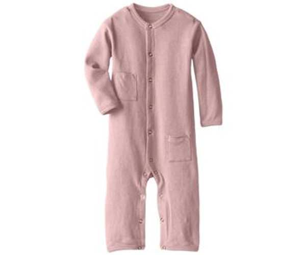 Organic Long-Sleeve Overall in Mauve, Flat