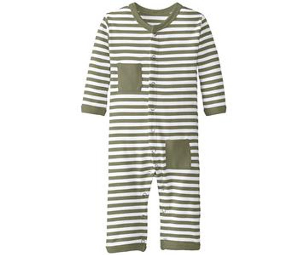Organic Long-Sleeve Overall in Sage/White, Flat