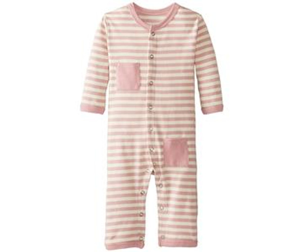 Organic Long-Sleeve Overall in Mauve/Beige, Flat