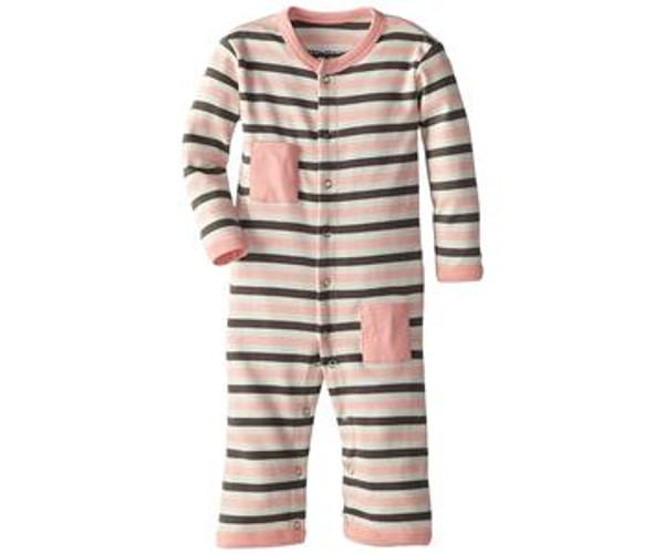 Organic Long-Sleeve Overall in Coral Stripe, Flat