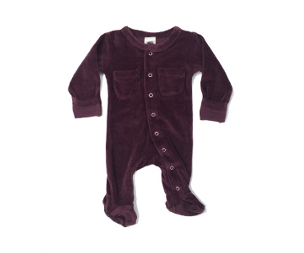 Organic Velour Footed Overall in Eggplant, Flat