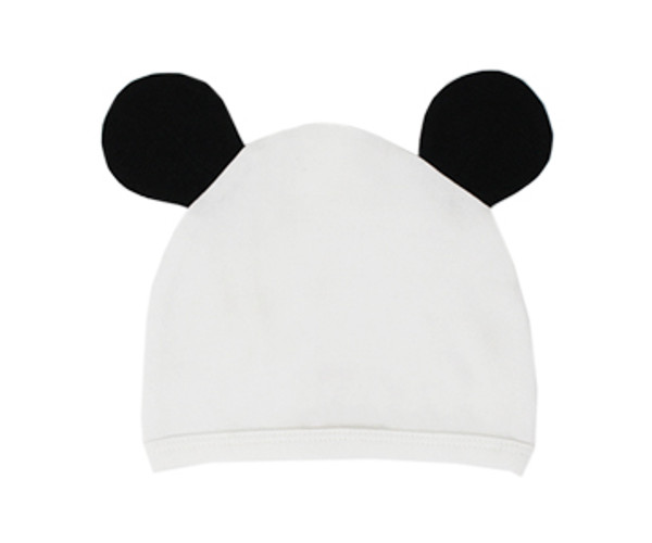 Organic Animal Cap in White Panda, Flat
