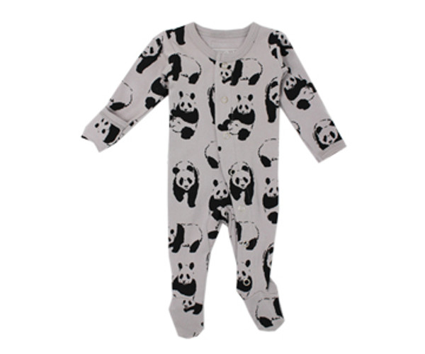 Organic Footed Overall in Light Gray Panda, Flat