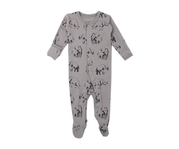 Organic Footed Overall in Light Gray Elephant, Flat