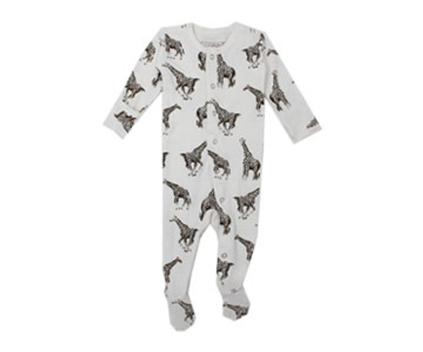 Organic Footed Overall in White Giraffe, Flat